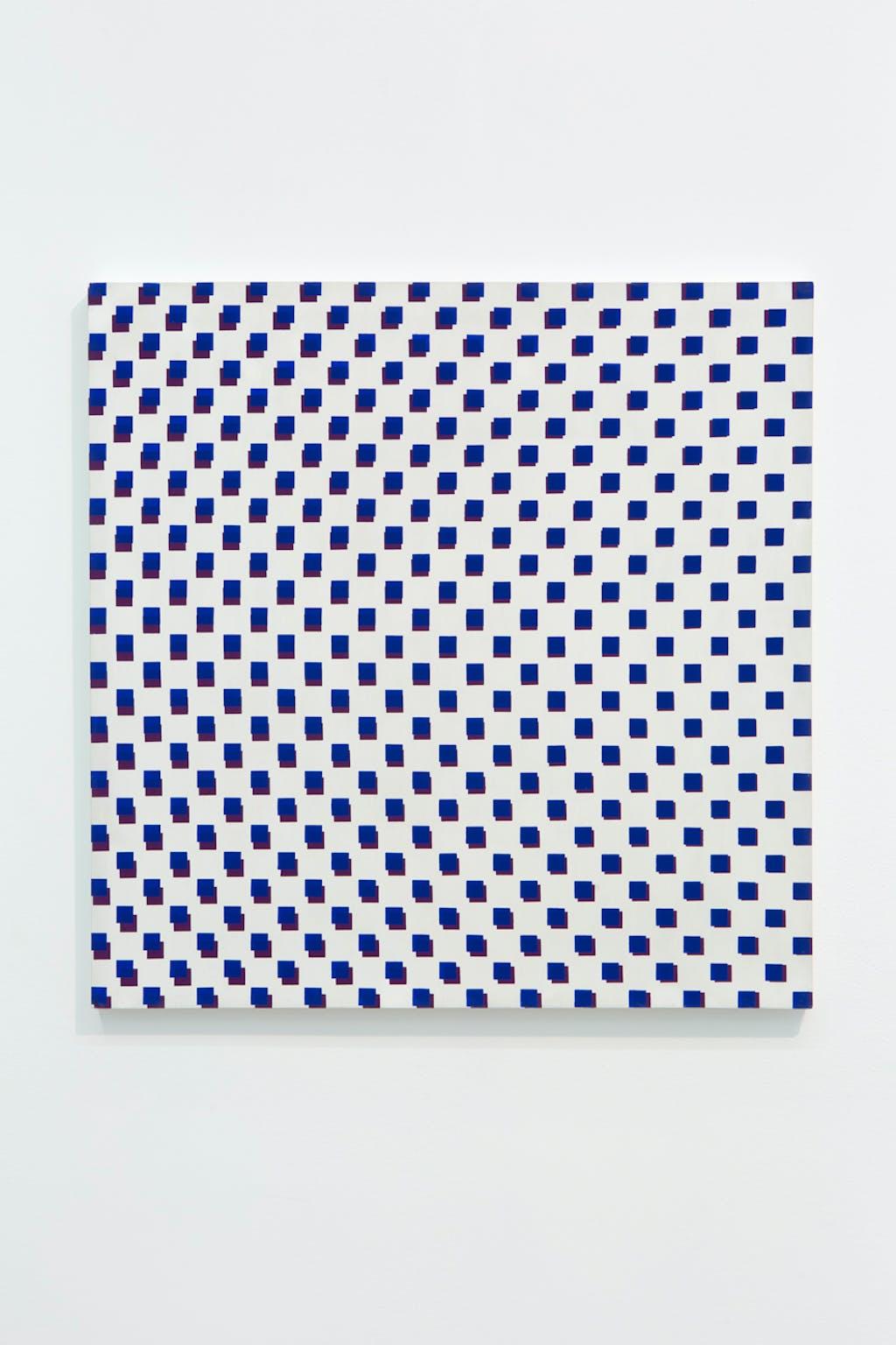 2 trames de carrés réguliers 1 carré sur 2 violet et bleu foncé - © kamel mennour